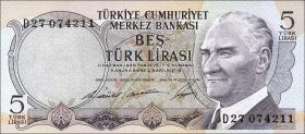 Türkei / Turkey P.179 5 Lira L. 1930 (1968) (1)