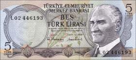 Türkei / Turkey P.185 5 Lira 1970 (1976) (1)