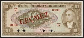 Türkei / Turkey P.148s 10 Lira 1930 (1948) (1) Specimen