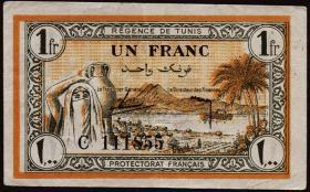 Tunesien / Tunisia P.55 1 Franc 1943 (3+)