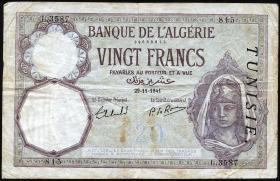 Tunesien / Tunisia P.06b 20 Francs 1941 (3/4)