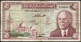 Tunesien / Tunisia P.64 5 Dinars 1965 (3)