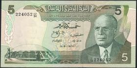 Tunesien / Tunisia P.68 5 Dinars 1972 (3+)