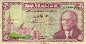 Tunesien / Tunisia P.64 5 Dinars 1965 (3-)