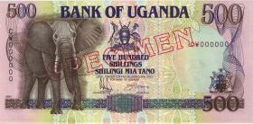 Uganda P.33s 500 Shillings 1991 Specimen (1)