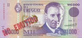 Uruguay P.67A 1000 Pesos 1989 NO EMITIDO (1)