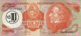 Uruguay P.58 10 Nuevos Pesos (1975) a. 10000 Pesos (1)