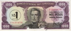 Uruguay P.55 1 Nuevo Peso (1975) auf 1000 Pesos (1) (1)