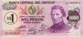 Uruguay P.56 1 Nuevos Peso (1975) auf 1000 Pesos (1)