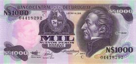 Uruguay P.64Aa 1000 Nuevos Pesos (1991) Serie C (1)