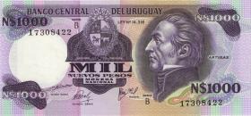 Uruguay P.64b 1000 Nuevos Pesos (1981) Serie B (1)