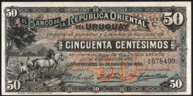 Uruguay P.02b 50 Centesimos 1896 (3+)