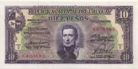 Uruguay P.42b 10 Pesos L. 1939 (1967) (1)