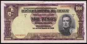 Uruguay P.41c 1000 Pesos (1967) (3+)
