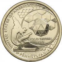 USA 1 Dollar 2019 Entwicklung des Polio-Impfstoffes - Pennsylvania