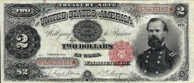 USA / United States P.352 2 Dollars 1891 Treasury Note (3+)