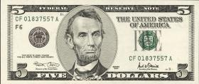 USA / United States P.510r 5 Dollars 2001 * (1)