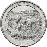 USA 1/4 Dollar 2017 36. Effigy Mounds National Monument