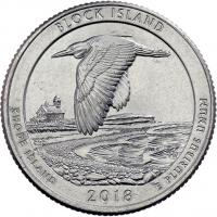 USA 1/4 Dollar 2018 45. Block Island National Wilslife Refuge