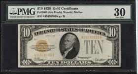 USA / United States P.400 10 Dollars 1928 Gold Certificate (3+)