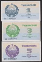 Usbekistan / Uzbekistan P.61-63 1 - 5 Sum 1992 (1)