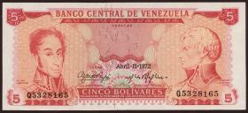 Venezuela P.50f 5 Bolivares 1972 (2+)