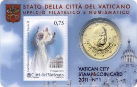 Vatikan 50 Cents 2011 Stamp&Coincard No. 1