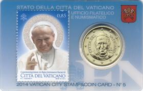 Vatikan 50 Cents 2014 Stamp&Coincard No. 5