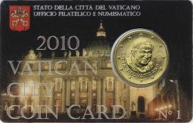 Vatikan 50 Cents 2010 Coincard No. 1