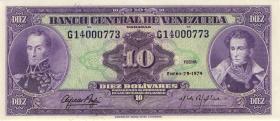 Venezuela P.51d 10 Bolivares 1974 (1)