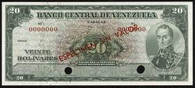 Venezuela P.43s 20 Bolivares (1960-1976) Specimen (1)
