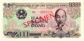 Vietnam / Viet Nam P.107s2 2000 Dong 1988 Specimen (1)
