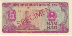 Vietnam / Viet Nam P.089s 5 Hao 1985 Specimen (1)