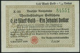 RVM-26F Reichsbahn Berlin 0,42 Mark Gold = 1/10 Dollar 7.11.1923 (1)