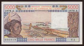 West-Afr.Staaten/West African States P.108Ab 5000 Francs 1978 (2)