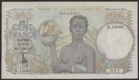 Franz. Westafrika / French West Africa P.40 100 Francs 1952 (3)