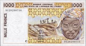 West-Afr.Staaten/West African States P.311Ca 1000 Francs 1991-2002 (1)