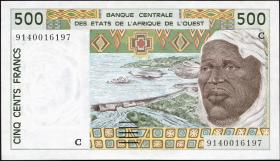 West-Afr.Staaten/West African States P.310Ca 500 Francs 1991 (1-)