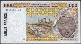 Senegal P.711Ka 1000 Francs 1991-2002  (2+)