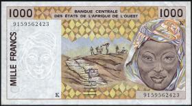 Senegal P.711Ka 1000 Francs 1991-2002  (2+)
