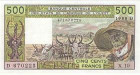 West-Afr.Staaten/West African States P.405Da 500 Francs 1988 (1)