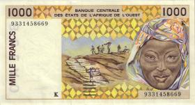 West-Afr.Staaten/West African States P.711Kc 1000 Francs 1993 (2)