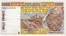 West-Afr.Staaten/West African States P.711Ki 1000 Francs 1999 (3+)