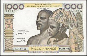 West-Afr.Staaten/West African States P.103Al 1000 Francs (1959-65) (1/1-)