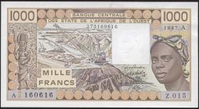 West-Afr.Staaten/West African States P.107Ah 1000 Francs 1987