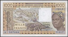 West-Afr.Staaten/West African States P.107Aa 1000 Francs 1988