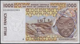 West-Afr.Staaten/West African States P.111Ak 1000 Francs 2002