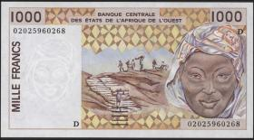West-Afr.Staaten/West African States P.411Dl 1000 Francs 2002 (1)