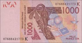 West-Afr.Staaten/West African States P.715Ke 1000 Francs 2007