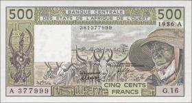 Elfenbeinküste / Ivory Coast P.106Aj 500 Francs 1986